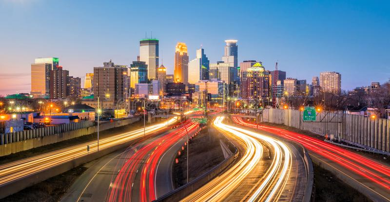 Minneapolis downtown skyline in Minnesota, USA. At sunset stock images