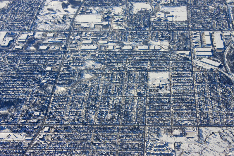 Minneapolis. Looking down on Minneapolis in winter royalty free stock photos