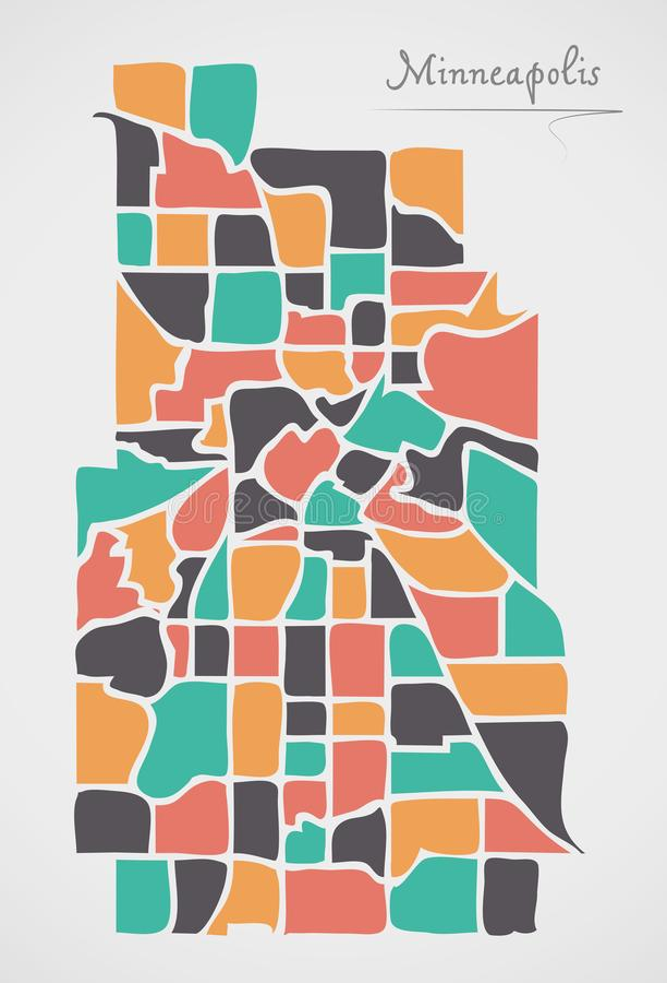 Minneapolis Minnesota Map with neighborhoods and modern round sh. Apes illustration royalty free illustration