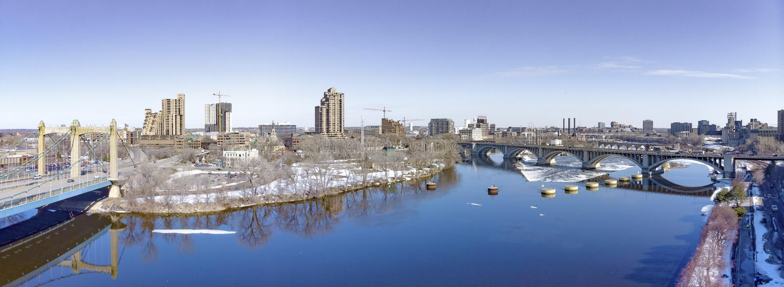 Minneapolis, Minnesota, March,19,2019. Panoramic aerial drone photo of Minneapolis, Minnesota, downtown royalty free stock photo