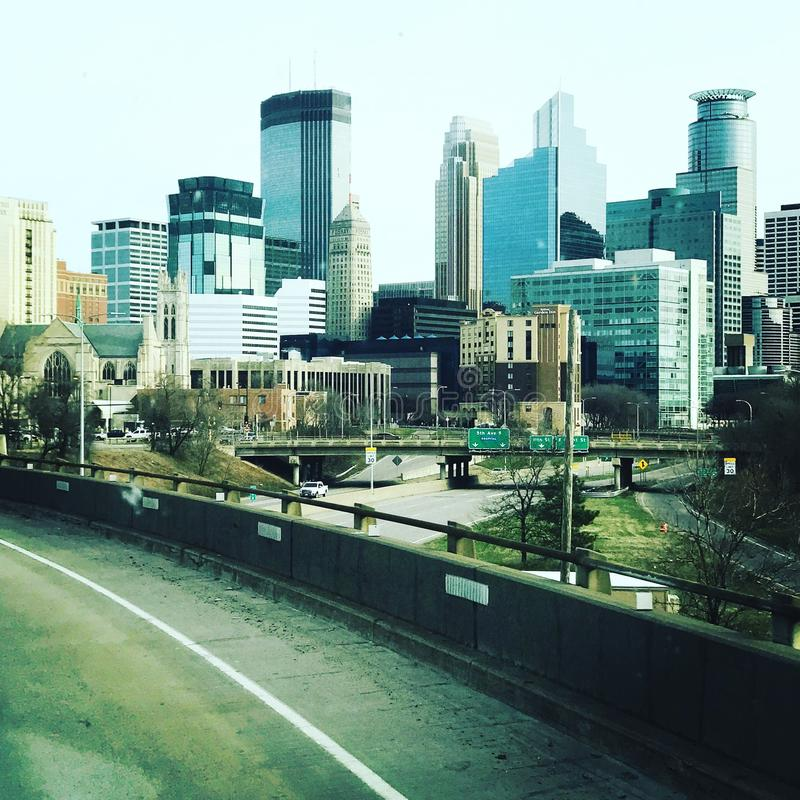 Minneapolis, Minnesota. Minneapolis Minnesota picture of the city and road royalty free stock photo