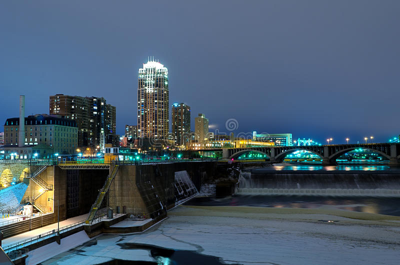 Minneapolis Minnesota at Night royalty free stock image