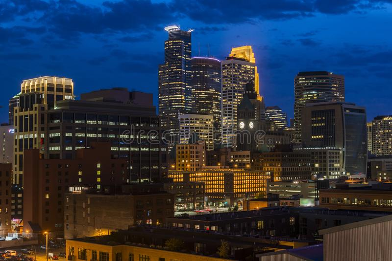 Minneapolis downtown skyline at night, Minnesota, USA royalty free stock photos
