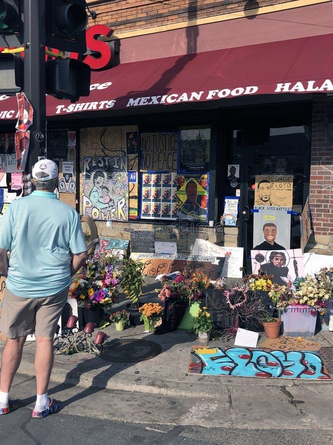 George Floyd Memorial. Minneapolis, Minnesota / USA - Jun 14, 2020: Memorial honoring George Floyd outside of Cup Foods, where he was murdered by Derek Chauvin stock image