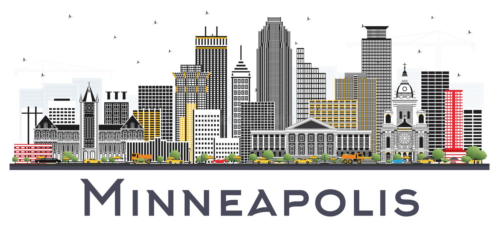 Minneapolis Minnesota USA Skyline with Color Buildings Isolated. On White Background. Vector Illustration. Business Travel and Tourism Concept with Modern stock illustration