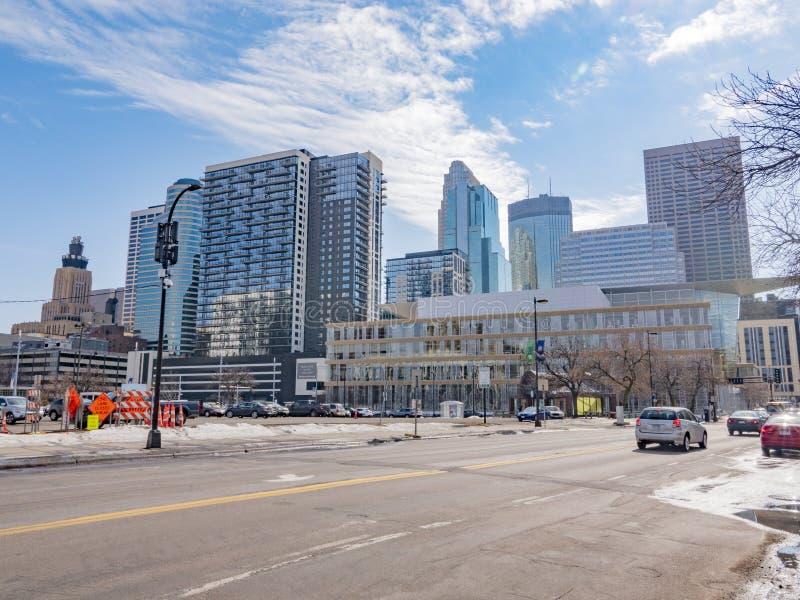 Minneapolis, Minnestoa, Marzec, 19,2019 w centrum Minneapolis podczas dnia czasu, obrazy stock
