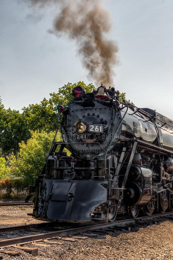 MINNEAPOLIS, MN – SEPTEMBER 8, 2018: The Milwaukee Road #261 steam train sits in rail yard prior to its annual Fall Tour from. Minneapolis, MN to Glencoe royalty free stock images