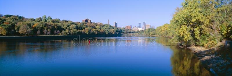 Minneapolis river. Morning view of Minneapolis river Minnesota royalty free stock photography