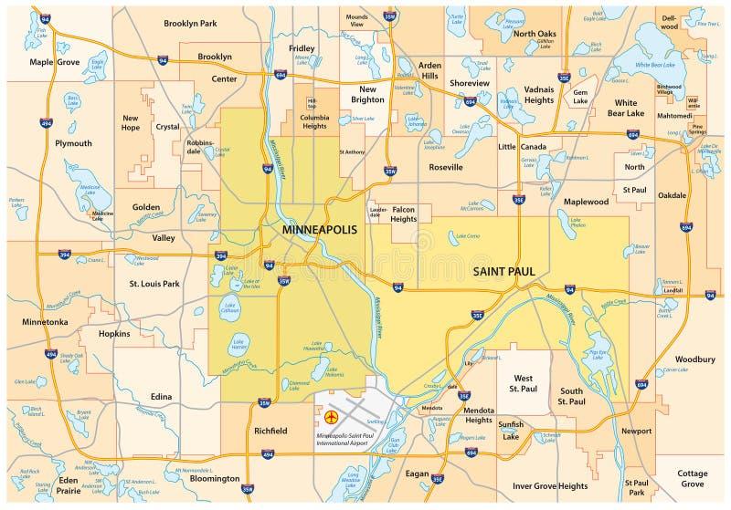 Minneapolis Saint Paul väg och administrativ översikt stock illustrationer