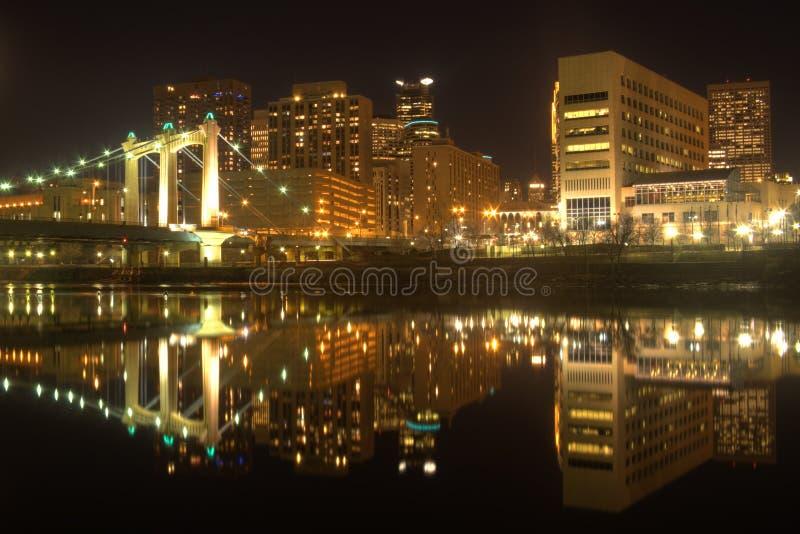 Minneapolis Skyline. The skyline of Minneapolis city at night stock images