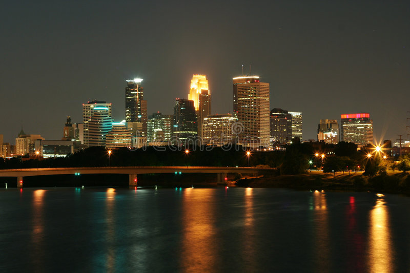 Minneapolis Skyline. Reflected on the Mississippi River royalty free stock photo