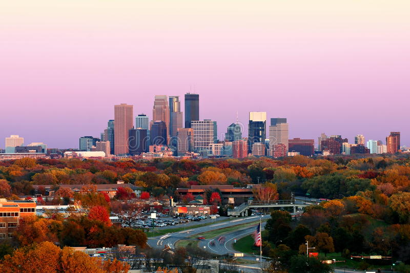 Minneapolis Skyline during Autumn at Sunset from Plymouth, Minnesota stock image