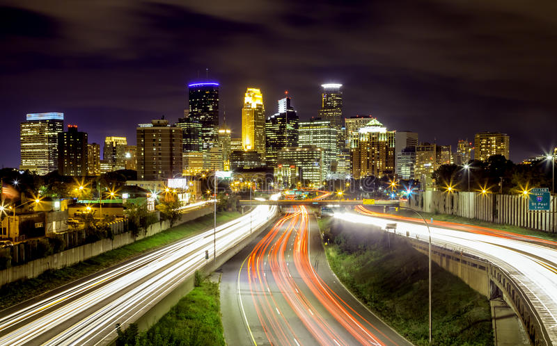 Minneapolis Skyline. Light trails in Minnesota royalty free stock images