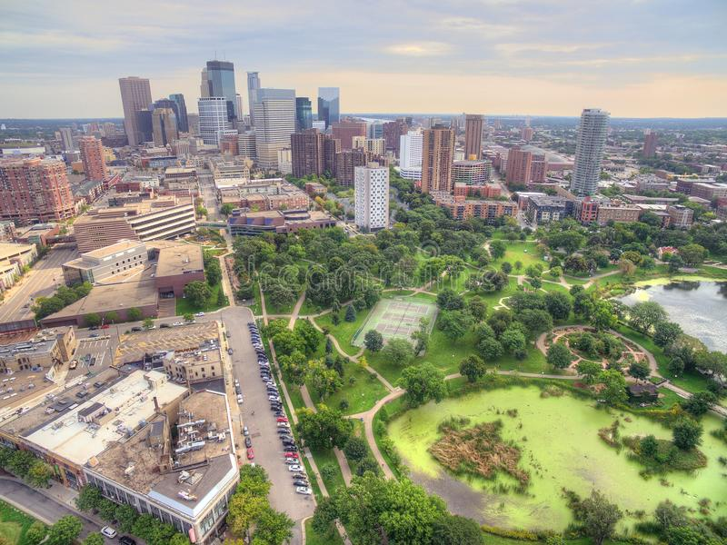 Minneapolis Skyline in Minnesota, USA. Minneapolis Area Skyline in Minnesota, USA during Summer Time Ect royalty free stock image
