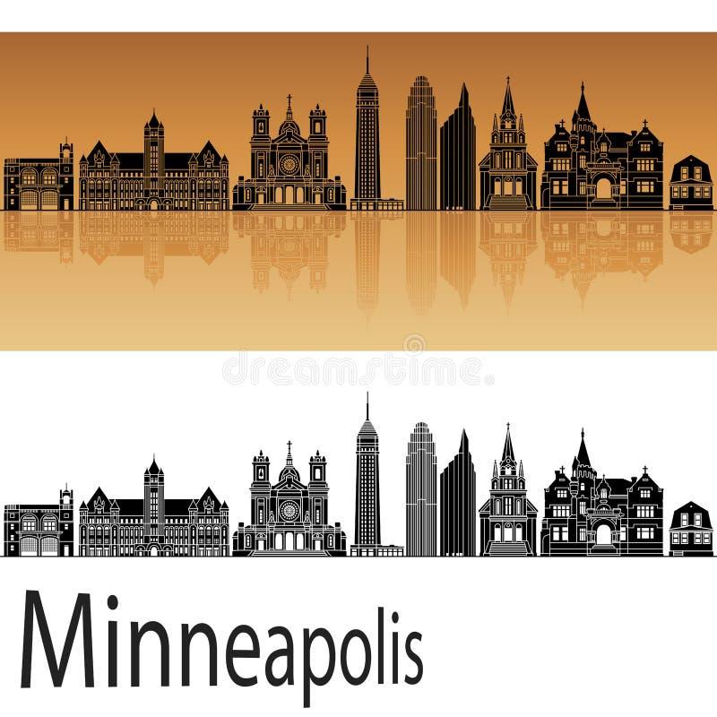 Minneapolis skyline in orange background. In vector file royalty free illustration