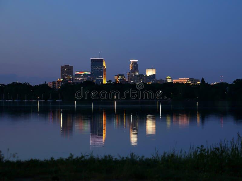 Minneapolis Skyline Reflecting in Lake Calhoun stock photos