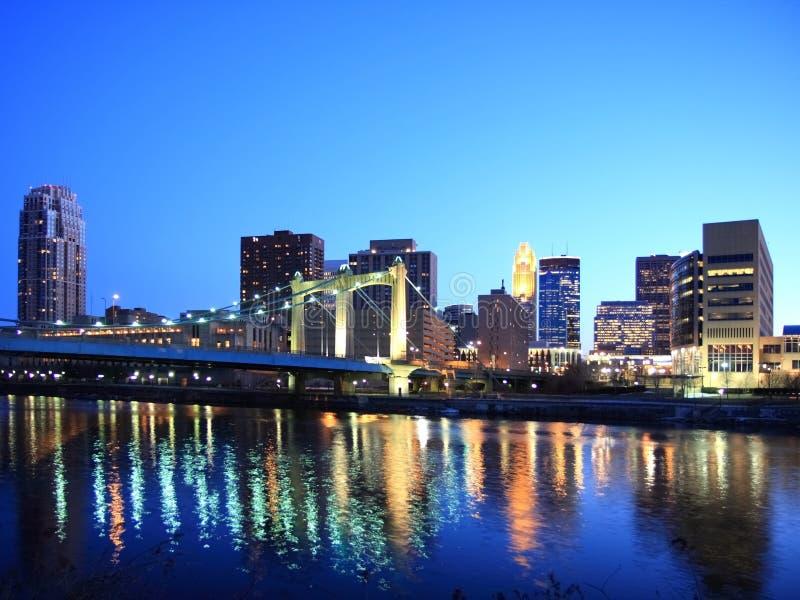 Minneapolis w środku nocy fotografia stock