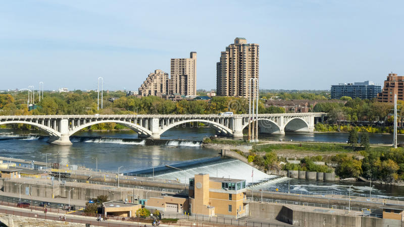 Minneapolis waterfront. Overlooking the Mississippi River in Minneapolis on an early fall day stock image