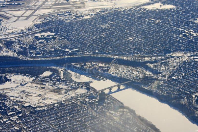 Minneapolis in winter. River in Minneapolis in winter royalty free stock image