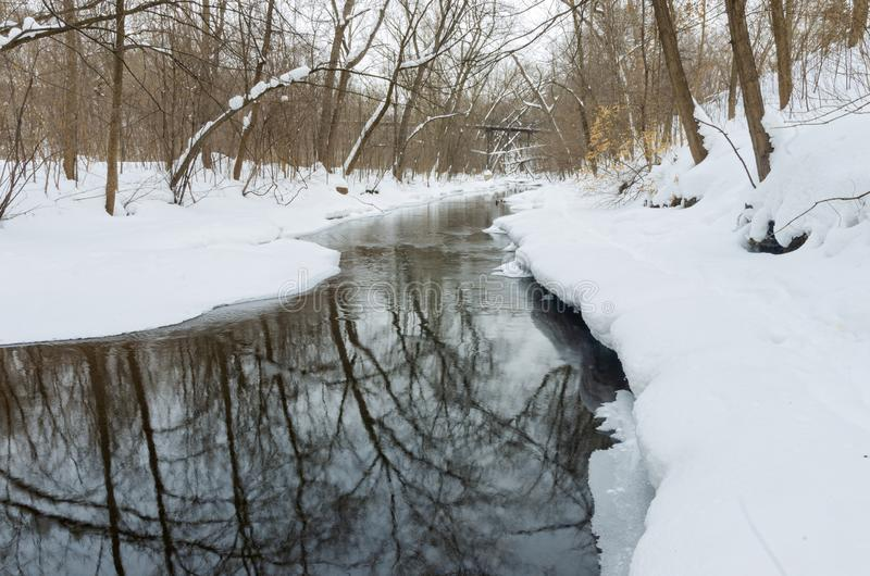 Minnehaha Parkway and Creek in Winter. Winter scenery with fresh fallen snow along creek in minnehaha parkway of minneapolis minnesota royalty free stock photos