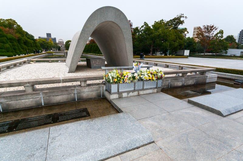 Minnes- cenotafium i freden Memorial Park, Hiroshima fotografering för bildbyråer
