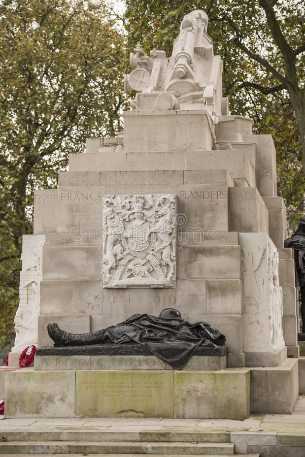 Minnes- Hyde Park för kungligt artilleri hörn London England arkivbild