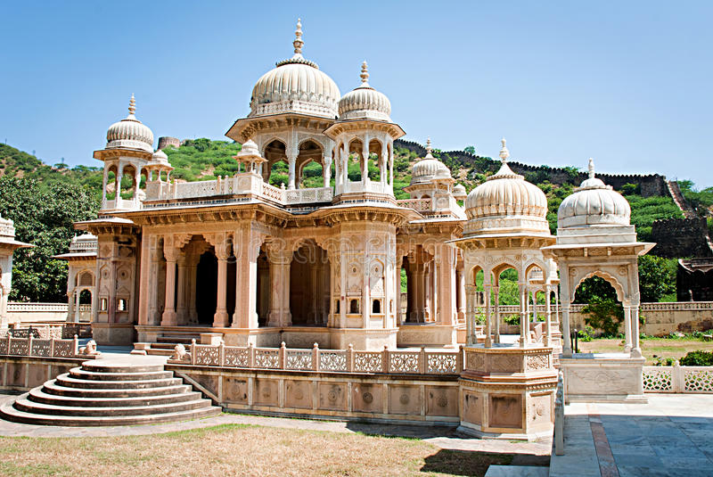 Minnes- jordning till Maharaja Sawai Mansingh II, Jaipur, Rajasthan, Indien. royaltyfria foton