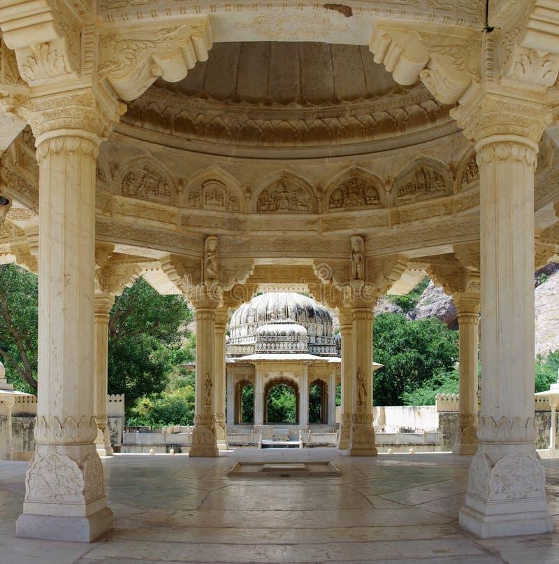 Minnes- jordning till Maharaja Sawai Mansingh II och familj, Jaipu royaltyfria foton