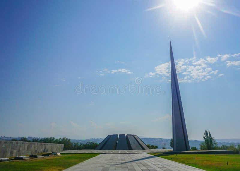 Minnes- komplex Yerevan Tsitsernakaberd för armeniskt folkmord arkivbilder