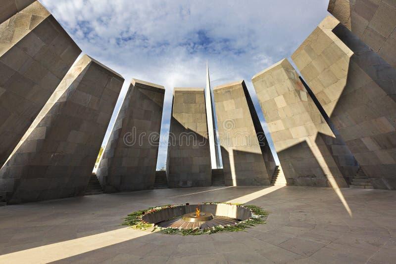 Minnes- monument för folkmord i Yerevan, Armenien arkivbild
