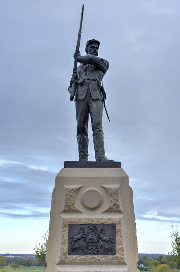 Minnes- monument, Gettysburg, PA royaltyfri foto