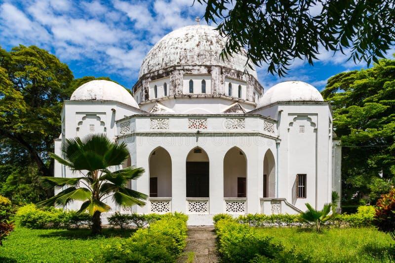 Minnes- museum Beit el Amani för fred Benjamin Mkapa väg, stenstad, Zanzibar stad, Unguja ö, Tanzania royaltyfri bild