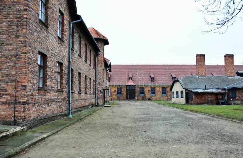 Minnes- museum för Auschwitz I förintelse arkivfoton