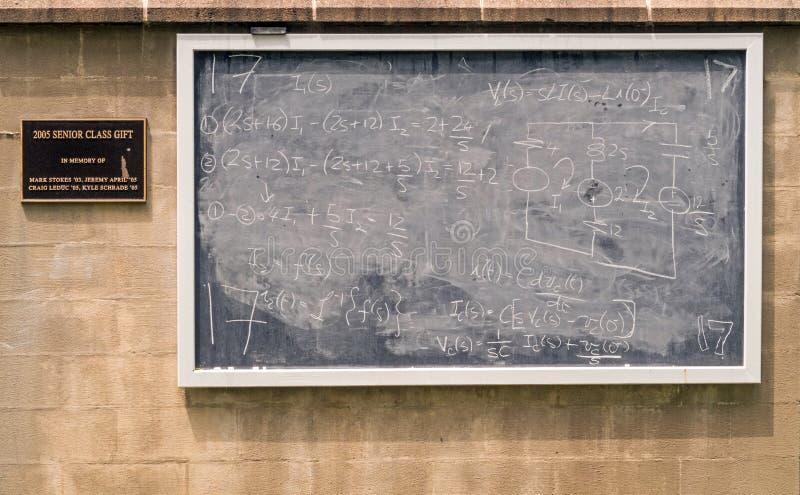 Minnes- skriftliga matematiska likställande för gruppgåva arkivfoton
