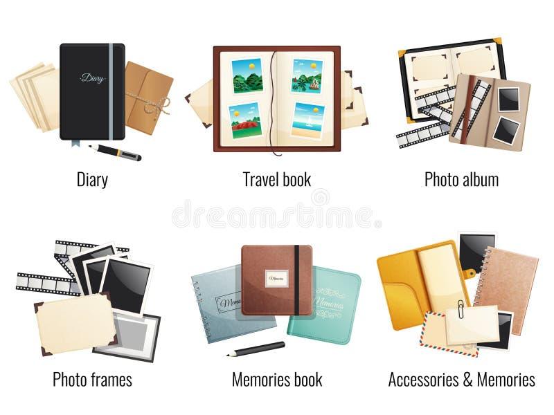 Minnesböcker och dagboksammansättningar vektor illustrationer