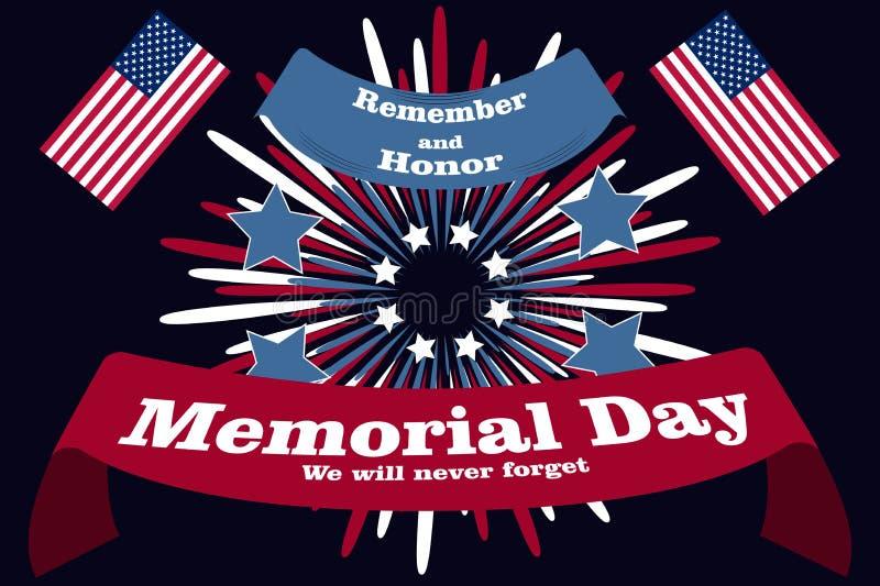 Minnesdagenaffisch Patriotiskt feriebaner med flaggor, fyrverkerier i amerikanska traditionella färger Tryck för USA nationellt h vektor illustrationer