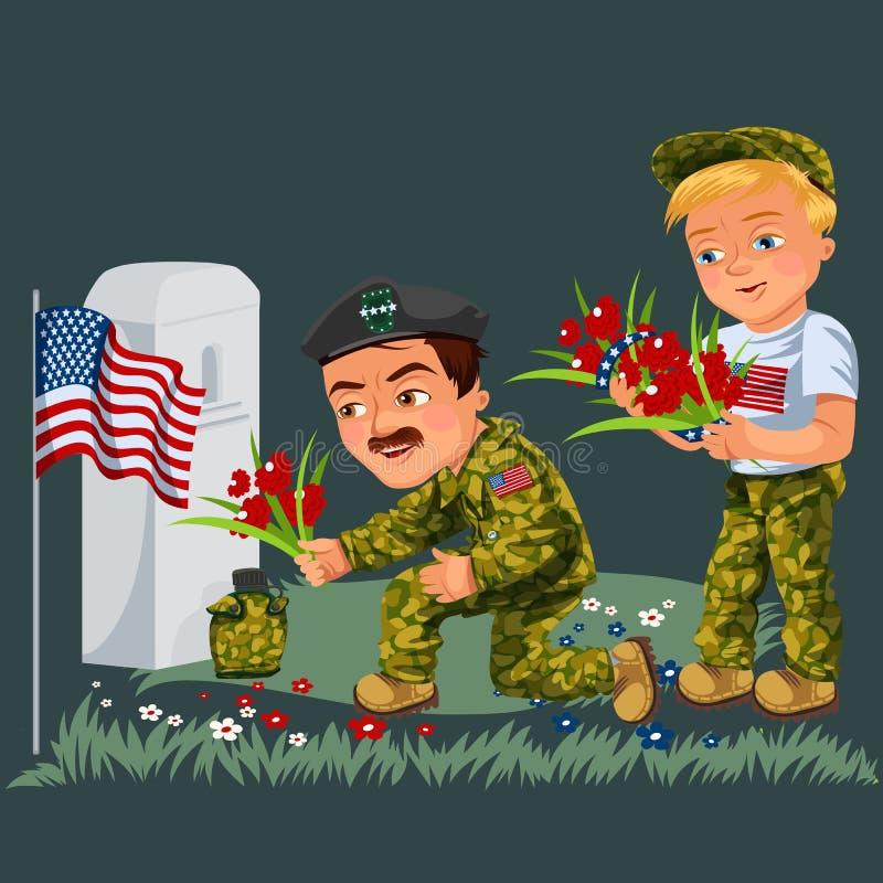 Minnesdagenbakgrund, amerikanska veteran lägger blommor till den vita gravstenen av monumentet med oss flaggan, soldater i likfor vektor illustrationer