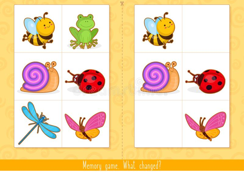 Minneslek f?r ungar Fyndskillnad Bildande barnlek vektor illustrationer