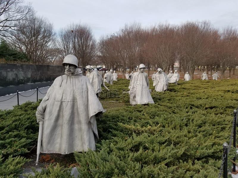 Minnesmärke för koreanskt krig i Washington DC royaltyfria foton