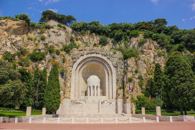 Minnesmärke för monumenthjälpMorts krig i Nice royaltyfri fotografi