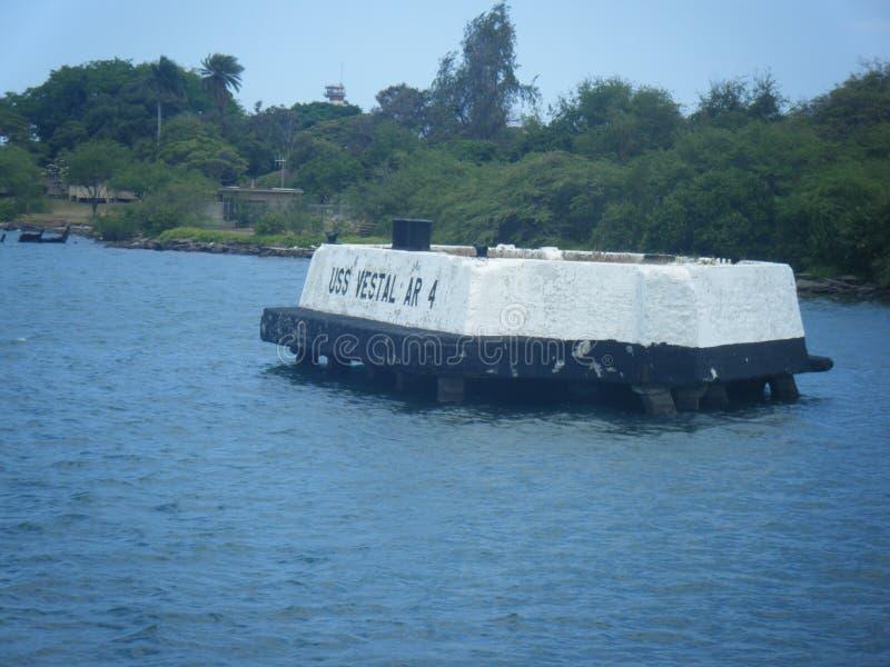 Minnesmärke för USS Vestal AR-4, pärlahamn Hawaii arkivfoton