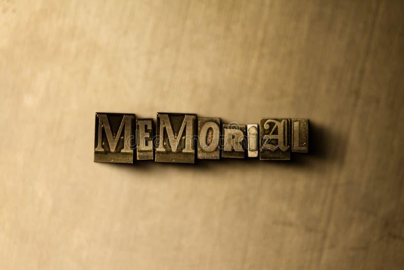MINNESMÄRKE - närbild av det typsatta ordet för grungy tappning på metallbakgrunden stock illustrationer