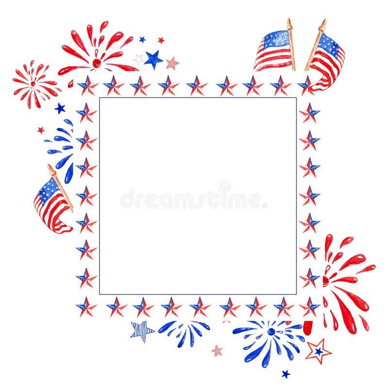 Minnesmärke och 4th av den Juli vattenfärgramen med röda, vita och blåa stjärnor, USA-flaggor och honnören som isoleras på vit ba arkivbild