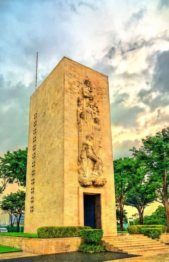 Minnesmärke på Manila den amerikanska kyrkogården, Filippinerna arkivbild