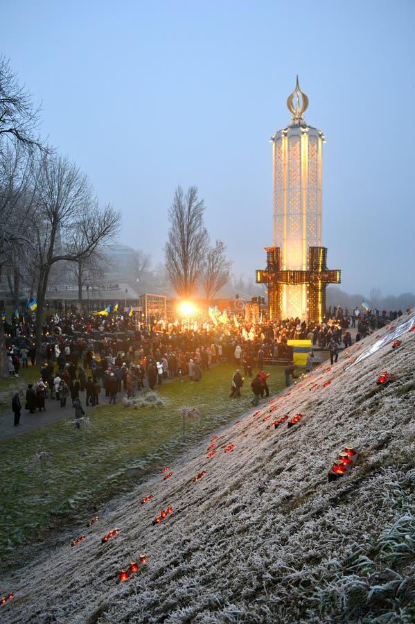 Minnesmärke som ägnas till Holodomor i Ukraina, royaltyfri bild