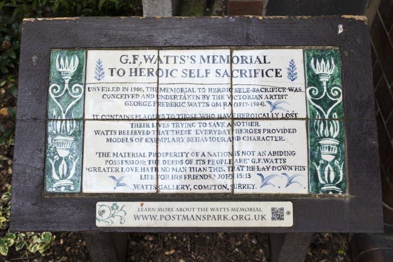 Minnesmärke till det heroiska självoffret i London royaltyfri bild