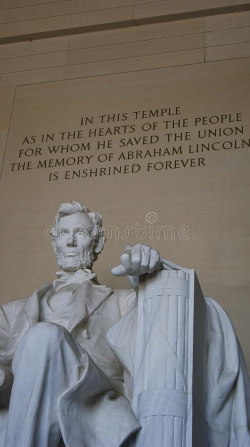 minnesm?rke washington f?r dc lincoln royaltyfri fotografi