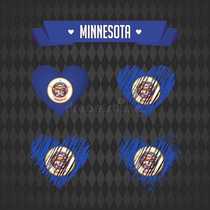 Minnesota con amor Corazón quebrado del vector del diseño con la bandera dentro libre illustration