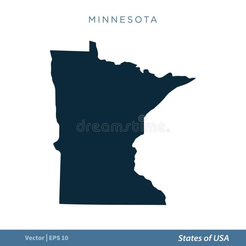 Minnesota - estados del diseño del ejemplo de la plantilla del vector del icono del mapa de los E.E.U.U. Vector EPS 10 libre illustration