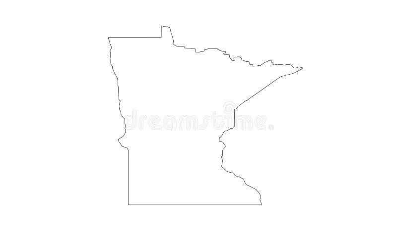 Minnesota-Karte - Zustand in den nördlichen Regionen der Vereinigten Staaten stock abbildung